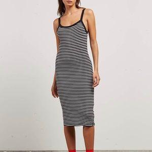Volcom Rave New World Striped Midi Dress Small